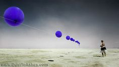 Balloon Chain by Robert Bose  Over one mile long chain of helium filled balloon skyline near 2 o'clock