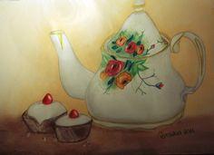 """""""Chá e Bolos"""" Pintura a Pastel Seco e Lápis de Cor A3"""