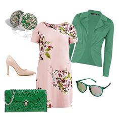 Note di verde su vestito floreale, adatto per ufficio e non, voglua di risveglio!