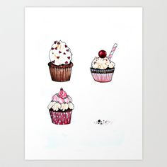 Cupcakes Art Print by Natalie Murray - $18.00