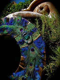 "Artistic Leather Mirror  Title: ""Mystic Peacock Mirror""  $499.00"
