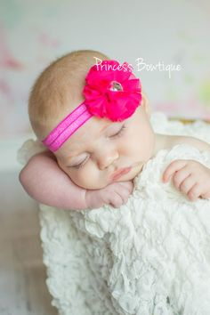 Baby Headband Hot Pink Crystal Chiffon: Baby Headbands & Hair Bows at Princess Bowtique