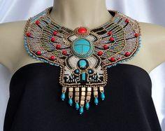 Maxi Colar Egípcio @Athelier_Iaccina Bijuterias artesanais