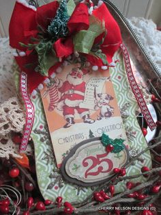retro christmas ornament-SANTA and PUPPY by cherrysjubileecards