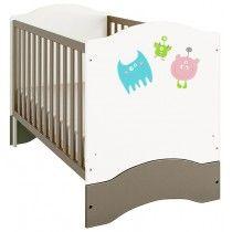 Polini Kids Kombi-Kinderbett Basic Monsters weiß-grau 140x70 cm,1184-2