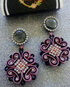 Soutache Necklace, Tassel Earrings, Statement Earrings, Crochet Earrings, Fabric Jewelry, Boho Jewelry, Women Jewelry, Black Earrings, Button Crafts