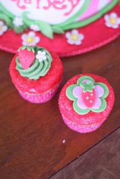 Strawberry Shortcake Cake and matching cupcakes