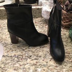 H&M booties Black h&m booties with tassel zip up.  Worn twice.  Too high of a heel for this momma.  Wood heel and black faux leather base.  Size 41, but fits like a 49(10) with 3 inch heel H&M Shoes Ankle Boots & Booties