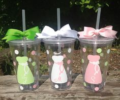 Personalized 16 oz. CLEAR ACRYLIC TUMBLER with polka dots, lid & straw for Bride Bridesmaids Bridal Bachelorette Gifts for Wedding Party. $10.00, via Etsy.