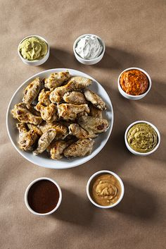 Plain but not boring wings with a selection of unique dipping sauces.