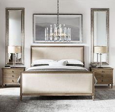 Maison Panel Fabric Bed With Footboard above nightstand bedroom ideas Maison Fabric Panel Bed With Footboard Bedroom Minimalist, Modern Bedroom, Contemporary Bedroom, Bedroom Romantic, Mirror Behind Nightstand, Mirror Over Bed, Mirrors Behind Lamps, Restoration Hardware Bedroom, Panel Bed