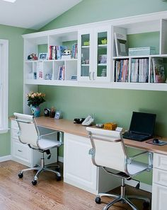 Home Office Design, Pictures, Remodel, Decor and Ideas - two person simple built in desk with cabinet space. Really like the chairs! Contemporary Home Office, Decor, Home Office Design, Contemporary House, Interior, New Homes, House, Office Design, Home Decor