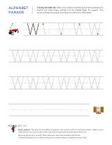 Uppercase W letter tracing worksheet, with easy-to-follow arrows showing the proper formation of the letter.