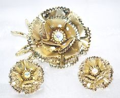Layered Rose Flower Brooch and Matching Earrings by LustfulJewels