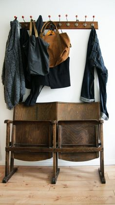 foldable chairs, an amazing idea for small wardrobe in the entryway. #wardrobe #design  #vintage