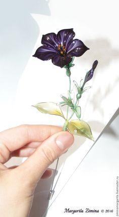 Купить Петуния (Petunia). Ювелирное украшение. - комбинированный, осень, капли росы, зимина маргарита, фиолетовый Exquisite Wire and Resin Kanzashi Flower Hair Jewelry.