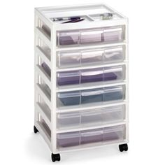 "6-Case Scrapbook Cart- from container store. Pricey but each ""drawer"" pulls out and is portable...very handy"