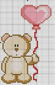 Birthday teddy bear with balloons cross stitch. Cross Stitch Heart, Cross Stitch Cards, Cross Stitching, Cross Stitch Embroidery, Baby Boy Knitting Patterns, Baby Cross Stitch Patterns, Cross Stitch Designs, Cross Stitch Pictures, Marianne Design