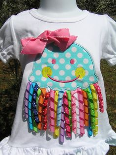 Girls Jelly Fish shirt by juliesonny on Etsy Sewing For Kids, Baby Sewing, Sewing Clothes, Diy Clothes, Little Girl Dresses, Little Girls, Baby Girls, Sewing Crafts, Sewing Projects