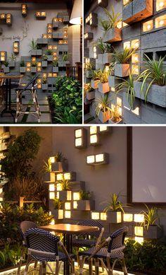 Terrace Garden Design, Balcony Design, Balcony Garden, Garden Wall Designs, Cinderblock Planter, Cafe Design, House Design, Concrete Block Walls, Concrete Wall