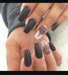 Black and white lace up coffin nails