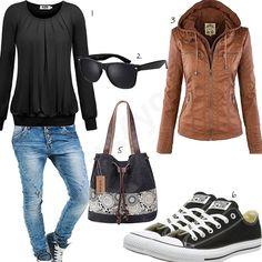 Cooles Damen-Outfit mit schwarzer Bluse, Sonnenbrille, Safata Handtasche, Converse Sneakern, lässiger Jeans und Hewbestyle Lederjacke.