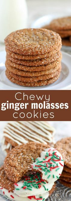 Big Chewy Ginger Molasses Cookies with a crunchy sugar coating and an optional white chocolate topping. These cookies are perfectly spiced and they stay chewy for days. #christmascookies #ginger #gingermolasses #gingerbread #baking #cookies #holidayrecipes