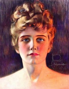 Rosamond wore her long blond plaits as a crown (Rolf Armstrong - 1916)