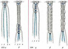 Цепочки из петельных узлов в макраме