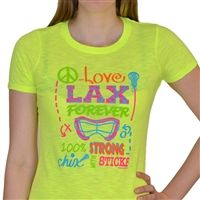 Womens Neon Series Lacrosse Tee Chix With Stix - Our brightly colored, neon tee is sure to make a splash. Each light weight, heathered shirt features a slim, womens cut, cap sleeves, and textured ribbing in the fabric.