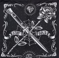 LIQUORBRAND SWITCHBLADE ROSE PILLOW COVER Your living room or bedroom is sure to stay gold with this awesome pillow cover by Liquorbrand. Just zip it over any 20 x 20 throw pillow and it will make your room shine. This cover features a crossed switchblade knife with a rose in a tattoo flash style. $15.00 #liquorbrand #housewares #pillowcase #switchblade