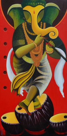 Lord Ganesha Paintings, Ganesha Art, Krishna Painting, Krishna Art, Ganesha Drawing, Ganesha Rangoli, Spiritual Paintings, Modern Indian Art, Indian Folk Art