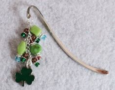 St Patrick's Day Beaded Bookmark  SHAMROCK by uniquelyyours2010, $12.75