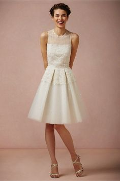 Pretty knee length wedding dress features in tulle. The bodice is sheer-topped and adorned with sparkling beading, sequins and hand-embroidered lace. Amazing Wedding Dress, Wedding Dresses For Sale, Amazing Dresses, Wedding Outfits, Wedding Rehearsal Dress, Lace Top Dress, Glamour, Dance Dresses, Bride Dresses