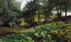 A Wooded River Landscape with Deer beyond, Oil On Canvas by Peder Mork Monsted (1859-1941, Denmark)