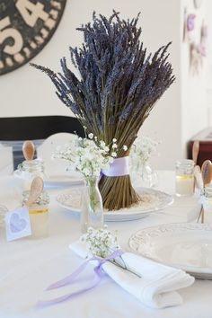Gorgeous Simple real lavender centerpiece. with understated accents <3 LOVE IT
