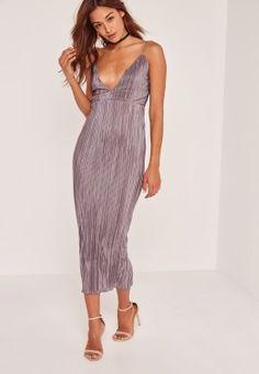 Grey Silky Pleated Ankle Grazer Maxi Dress