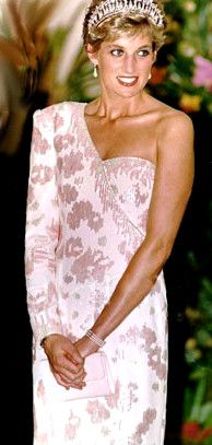 Princess Diana     Silky Creme & Lavender Splash, I saw this dress at the exhibition in Toronto, very heavy!