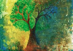 """""""A Tree Through the Seasons"""" by Vishwani Chauhan, watercolour and gouache on paper."""