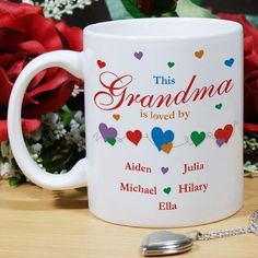 Is Loved By Personalized Mom Coffee Mugs. This Personalized Mother's Day Coffee Mug for Mom or Grandma makes the perfect unique gift your Mother or Grandmother will cherish forever. Our Personalized Ceramic Coffee Mug is Dishwasher safe and holds 11 oz. Our Personalized Mugs are personalized free. Personalized Ceramic Coffee Mugs for Mom, Nana, Mother, Grandmother or Grandma can be customized with any title and up to 30 children or grandchildren's names.