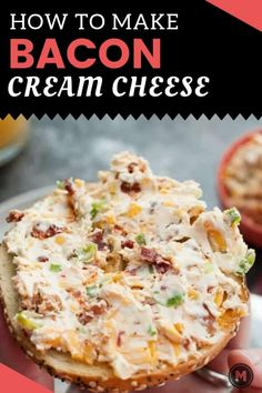 Loaded Cream Cheese A delicious cream cheese spread that you can't find in stores. Loaded with favorites like cheddar, bacon, scallion, and sun-dried tomato. Make your next bagel even better! Bacon Cream Cheese Recipe, Flavored Cream Cheeses, Bagel And Cream Cheese, Cream Cheese Snacks, Cheese Dips, Flavored Butter, Cheese Ball, Bacon Recipes, Appetizer Recipes