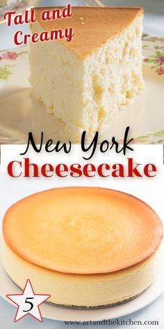 Tall and Creamy New York Cheesecake This is an incredible cheesecake recipe, tall, creamy and smooth. I made this recipe without a crust, but if you prefer a simple graham crust will work great. Best Cheesecake, Homemade Cheesecake, Easy Cheesecake Recipes, Dessert Recipes, Banana Cheesecake, Bake Cheesecake Recipe, Cheesecake Squares, Strawberry Cheesecake, Chocolate Cheesecake