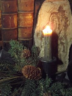 Home of the Mountain Dweller: A Simple Christmas - love the idea of using a shell behind a candle as a reflector.