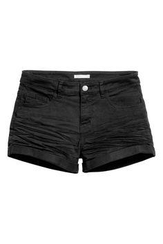 57f2321b3d3 River Island Black frayed Hollie hotpant denim shorts ($50) ❤ liked ...