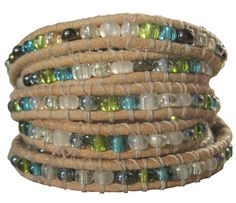 Handmade Wrap Bracelet in Natural Brown w/ Blues & Greens