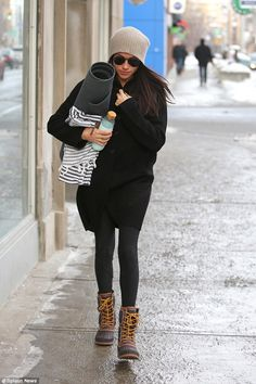 Meghan Markle, 35, was seen heading to a yoga class after returning to Toronto for Christmas following romantic break in London with Prince Harry