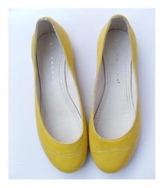 mustard yellow leather flats