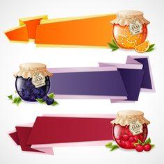 Delicious jam banner design vector graphics