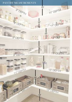 all-white pantry design with measurments to help you DIY your pantry shelving - Shelterness