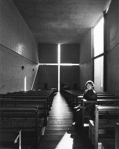 Tadao Ando in Church of the Light. Photograph by Nobuyoshi Araki